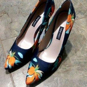 Nine West Womens Blue Heel Size 8 Tropical